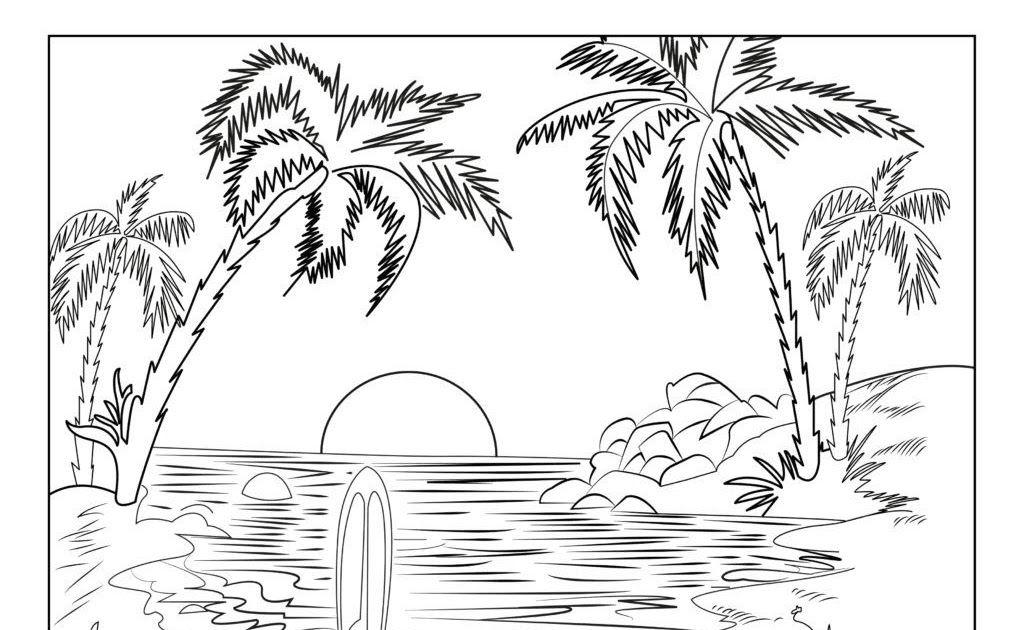 Pemandangan Bawah Laut Kartun Dengan Gambar Halaman Mewarnai