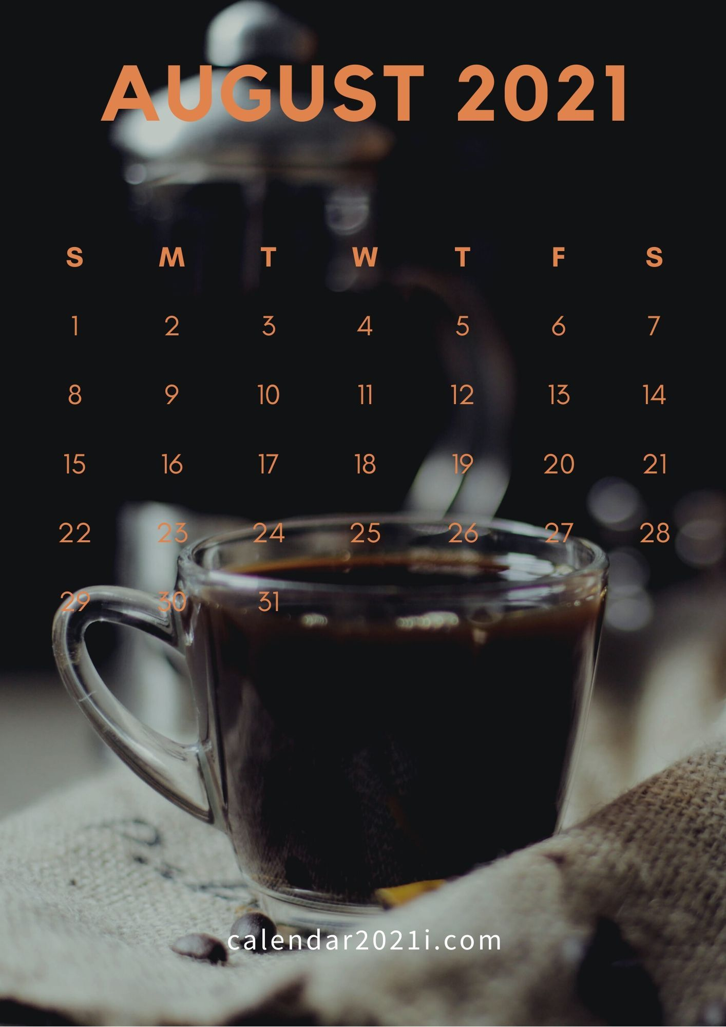 August 2021 Calendar Wallpaper August 2021 Calendar iPhone Wallpaper in high definition in 2020