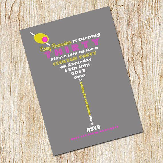 Martini Invitation - Cocktail Party Invitation - 30th birthday - invitation for cocktail party