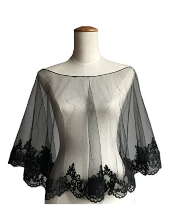 Wedding Cape Evening Wrap Shoulder Covers Lace Edge in Elegant Black
