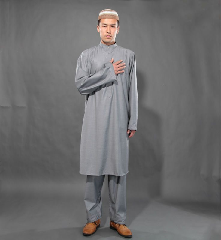 Wholesale Gray Muslim Exclusive Islamic Clothing Set Thobe ... Ancient Muslim Clothing For Men