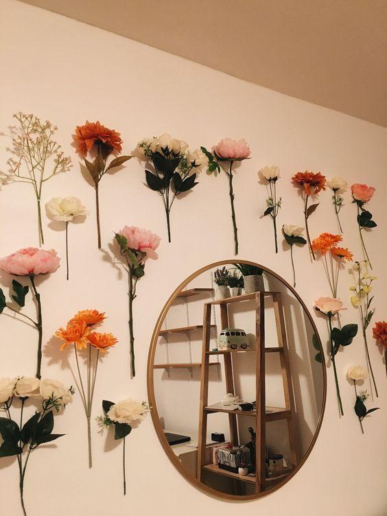 decoração-flores-paredes-6 in 2020 | Room decor, Aesthetic ... on Room Decor Paredes Aesthetic id=41401
