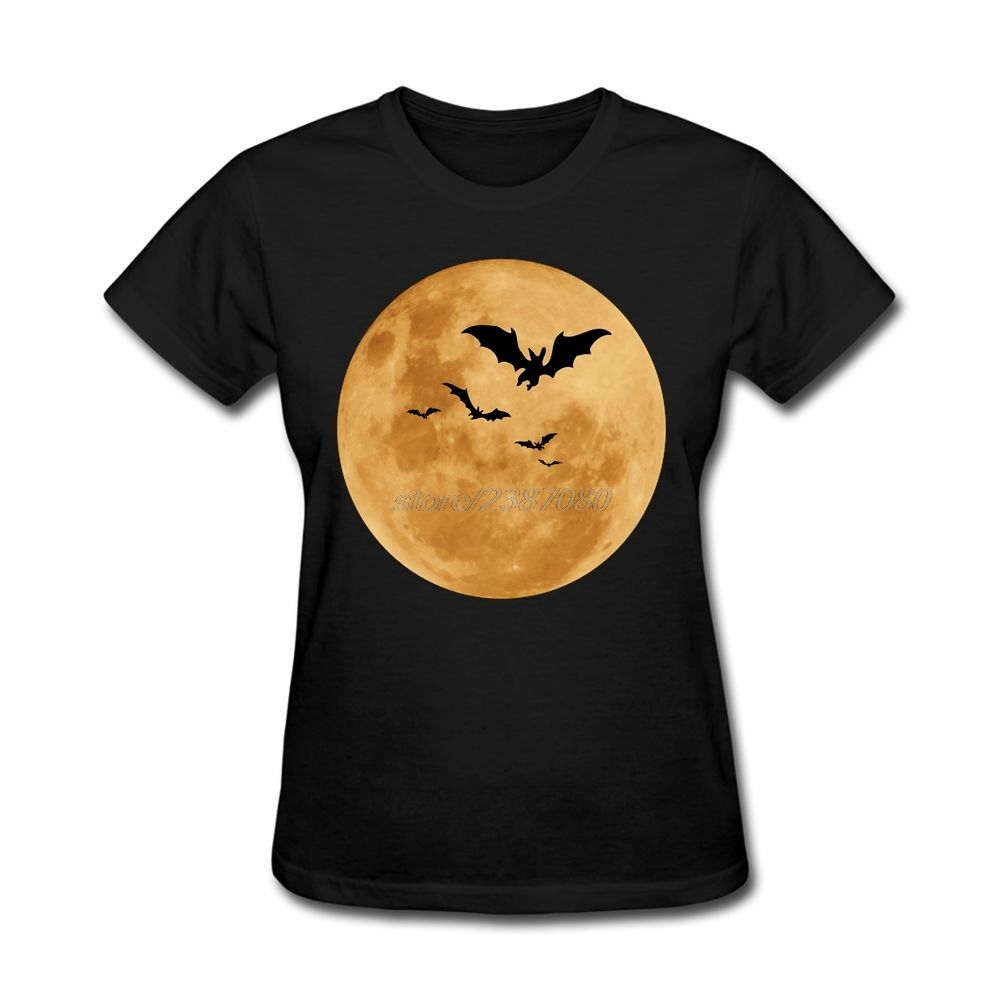 Geek Halloween Moon Shirts Ladies Natural Cotton T Shirt With Print On Sale Pre-cotton Women Tee #Affiliate