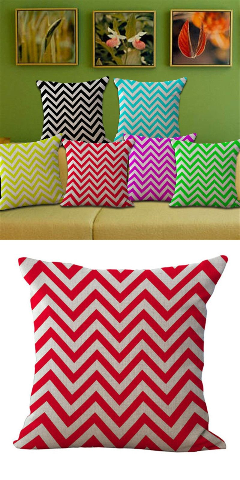 High Quality Sofa Pillows Fashion High Quality Geometric Stripe Printed Square Cotton Linen