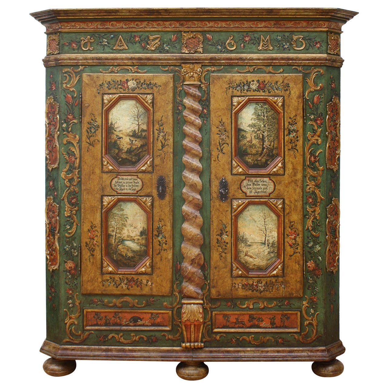 Austrian Tyrol Zillertaler Folk Art Painted Amoire 1stdibs Com Painting Antique Furniture Painting Upholstered Furniture English Cottage Decor