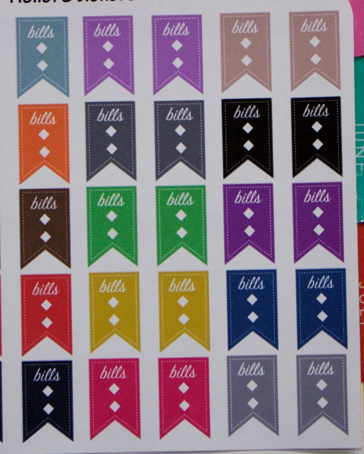 Colorful Bills Flags Labels! Stickers for Erin Condren Planner,  Happy Planner, Plum Planner, & many other planners,  or just for fun! by hellostickers on Etsy