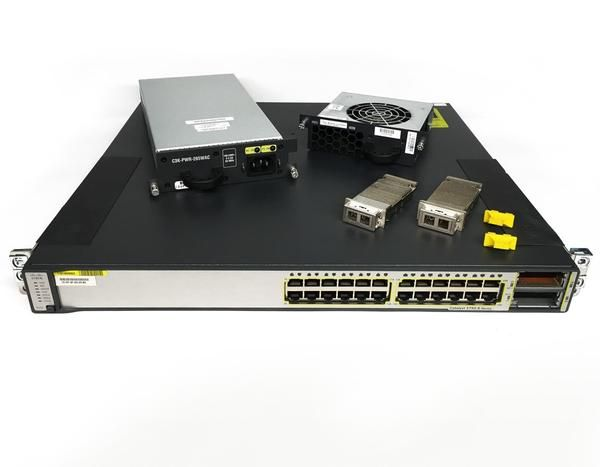 Cisco Catalyst 3750e 24td S Gigabit Switch 24 Port 2x X2 10gb Lx4 1x Pws 1x Fan Gigabit Switch Cisco Switch