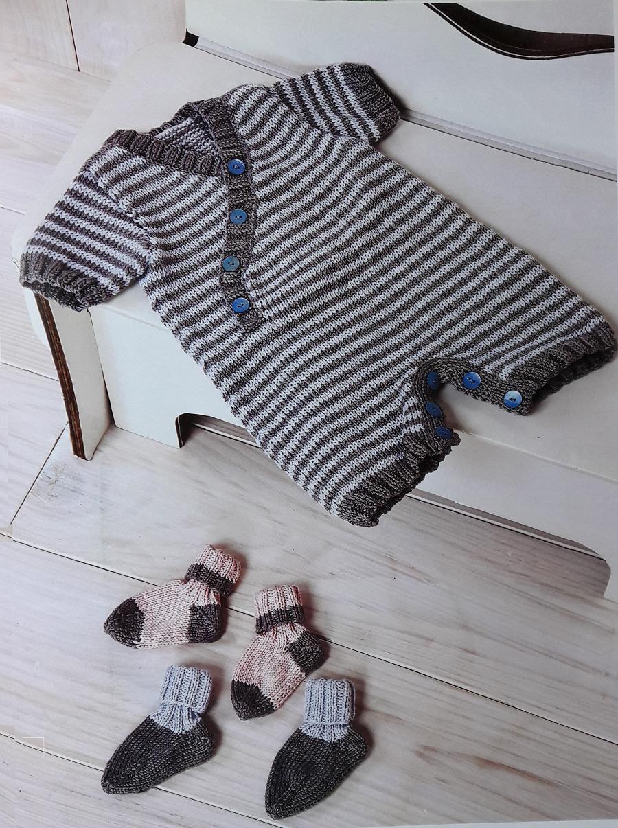 Patrón para tejer un enterito rayado en hilo de algodón (Talle 3 a 6 ...