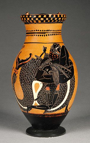 Pitcher With Herakles Wrestling Triton Getty Museum Ancient Greek Pottery Greek Pottery Greek Vases