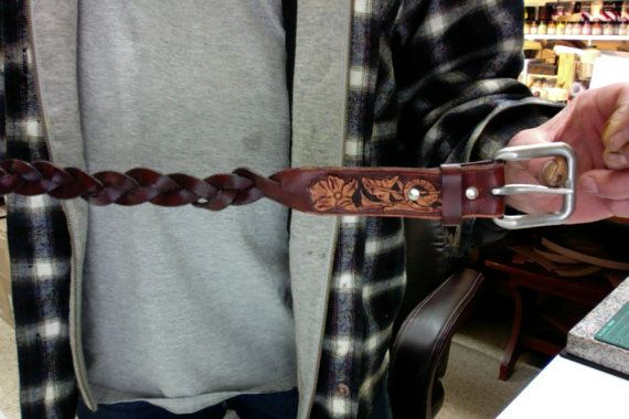 Leather Belt / Sheridan / Hand Carved and Tooled / Western / Bradded / Woven / Women / Men / Leather Belt