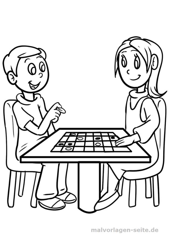 Malvorlage Junge & Mädchen spielen   Personen ...