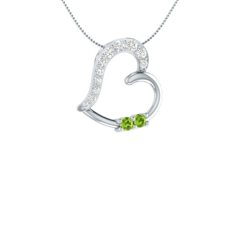 White Diamond Chain Pendant Necklace for Women GP 925 Sterling Silver Blue Sapphire