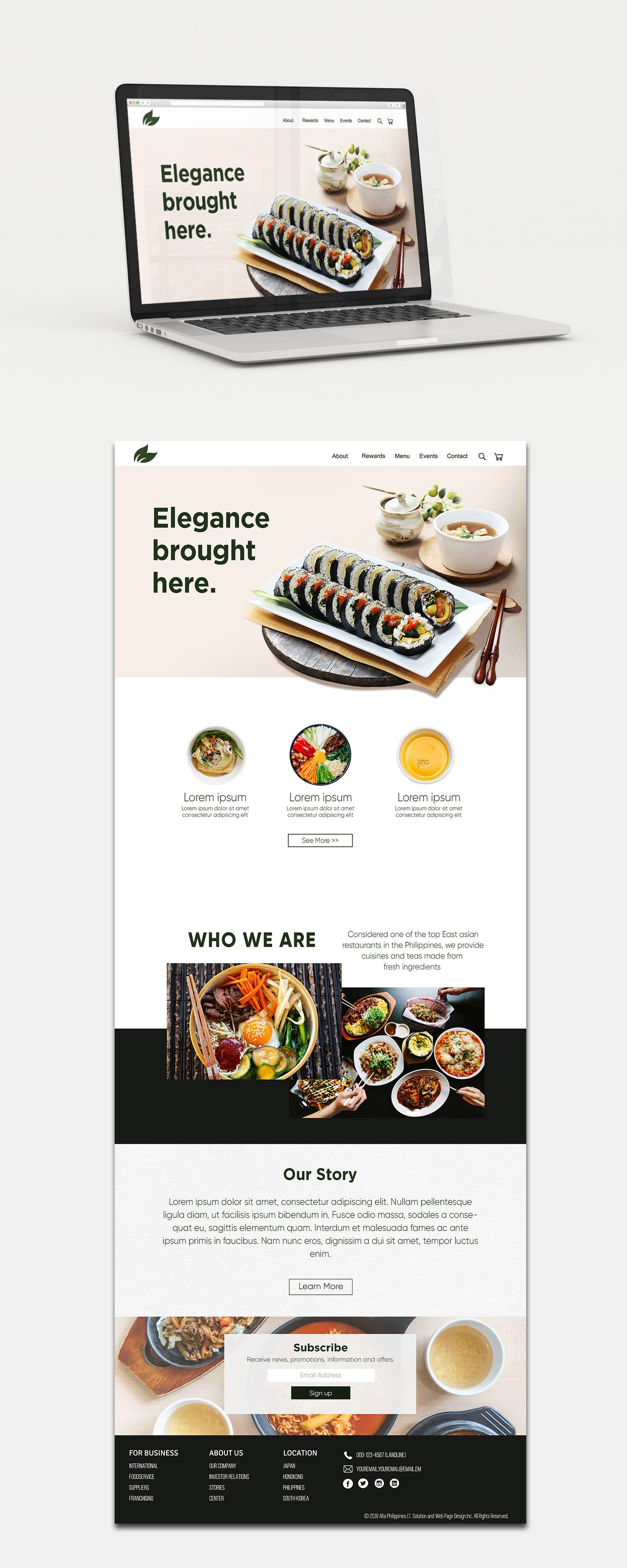Asian Restaurant Website Design On Behance In 2020 Restaurant Website Design Asian Restaurants Restaurant Website