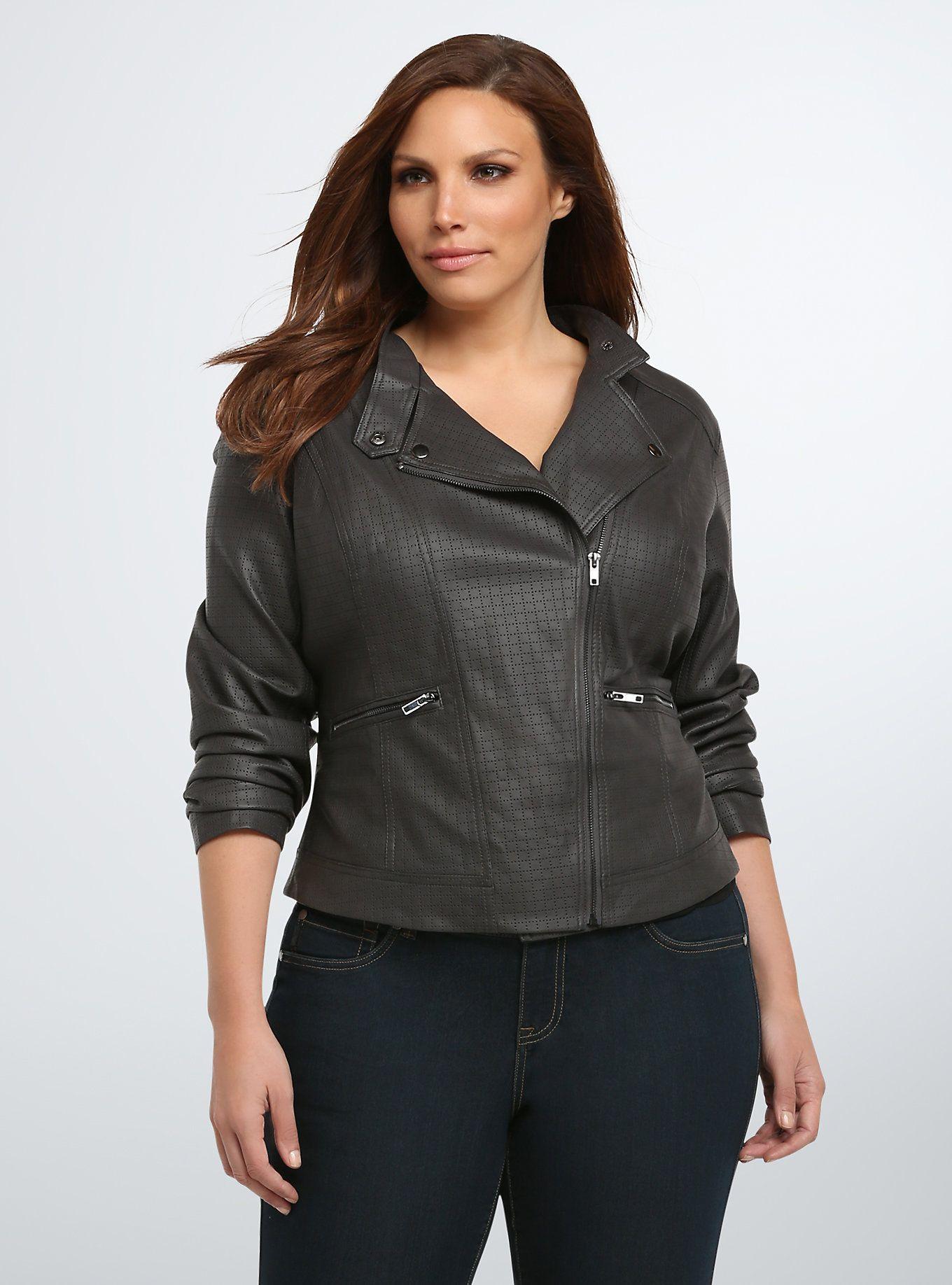 Perforated Faux Leather Moto Jacket Jackets, Moto jacket