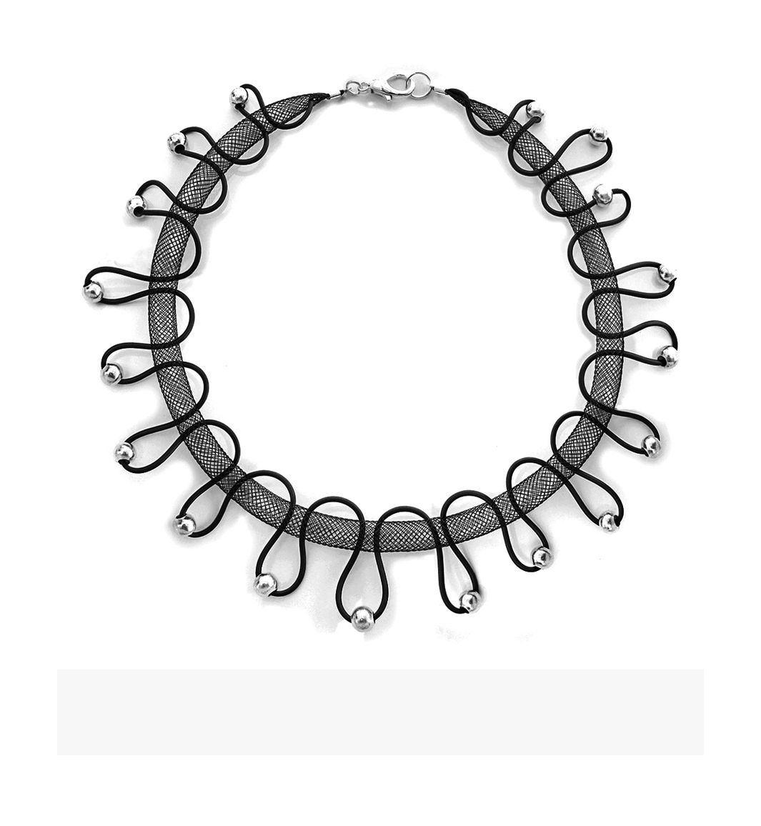 U-Boutique Shops | Black mesh tube & silicone unique handmade necklace.Silver metal beads Bib necklace.Women's necklace.Statement Jewelry | tami peretz