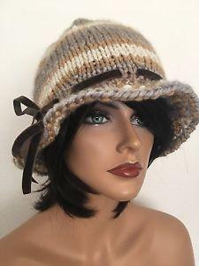 Hand Knits 2 Love Hat Beanie Velvet Ribbon Designer Fashion Female Winter  | eBay