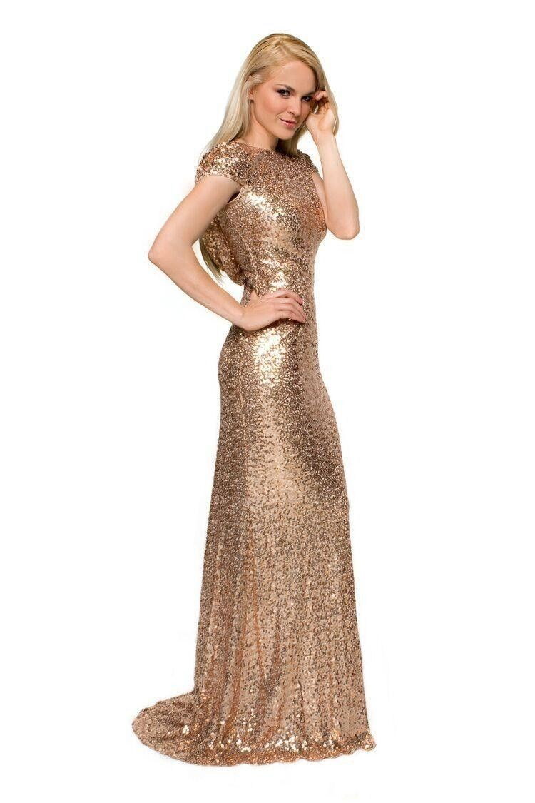 Gold Champagne Sequin Long Bridesmaid Dress