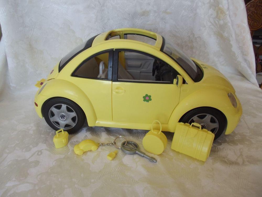 barbie volkswagen beetle love bug yellow car mattel   accessories mattel cars