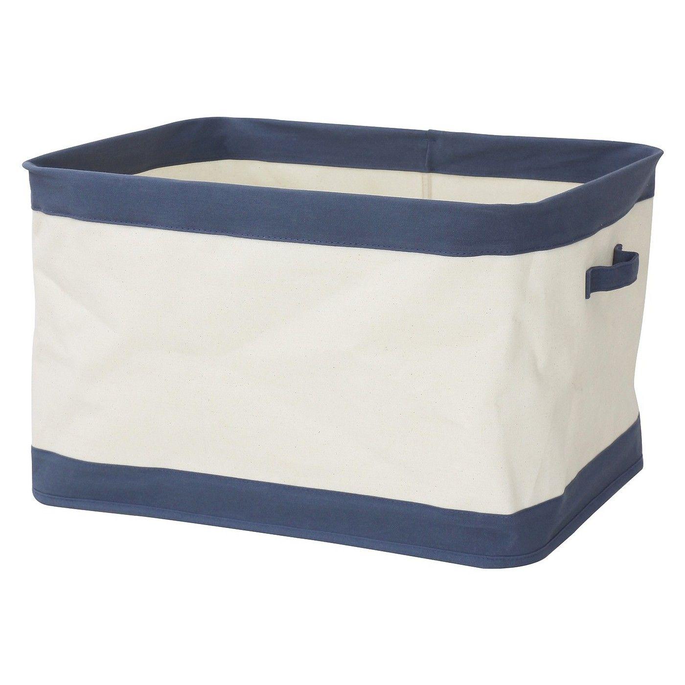 Large Collapsible Canvas Toy Storage Bin Navy Pillowfort Blue White Toy Storage Bins Storage Bins Fabric Storage Bins
