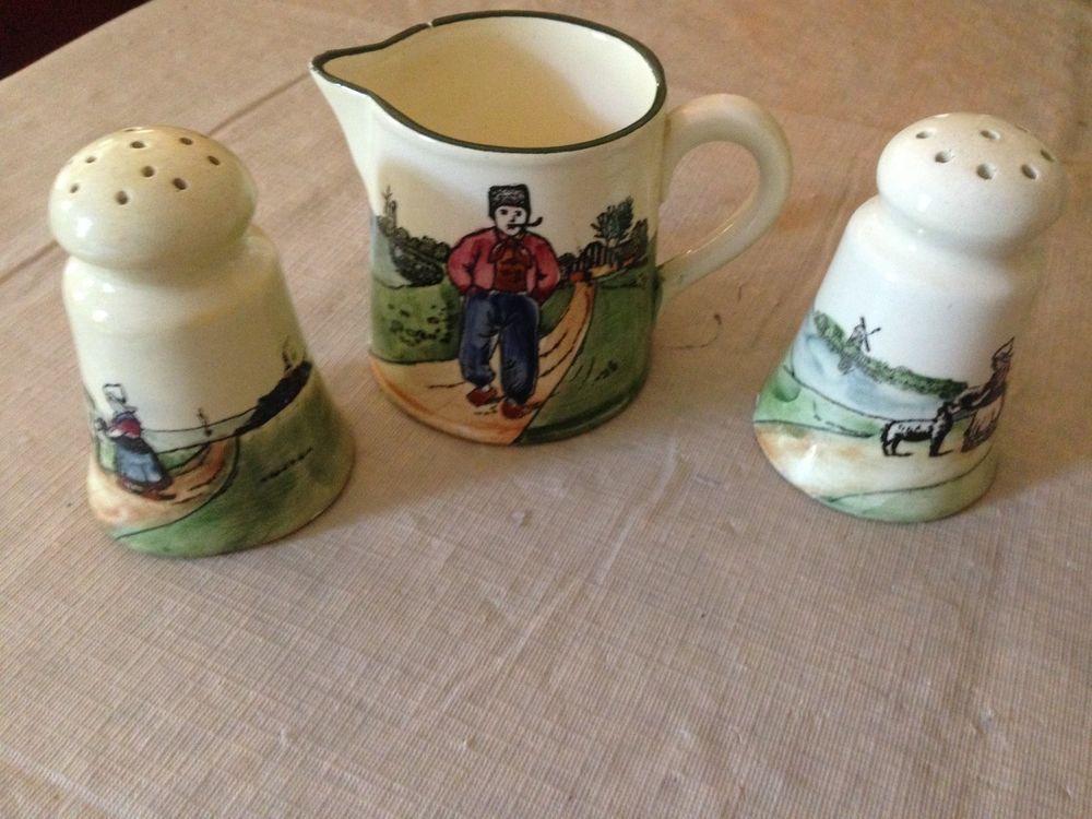 VINTAGE CREAMER SALT & PEPPER SET DUTCH DESIGN in Collectibles, Decorative Collectibles, Salt & Pepper Shakers | eBay