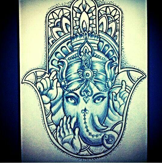 Hamsa elephant ganesh indie hippie tattoo design art for Hamsa elephant tattoo