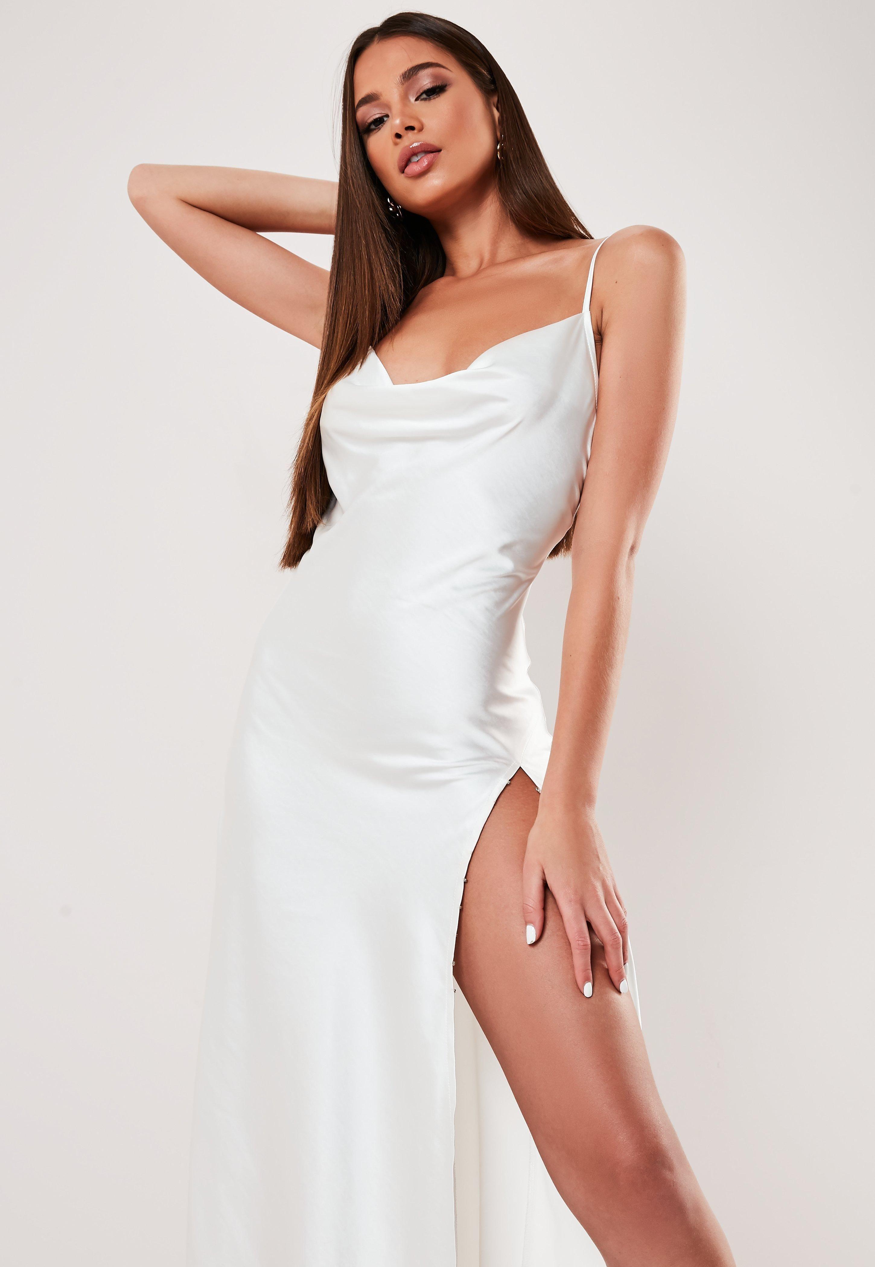 White Satin Cowl Extreme Split Maxi Dress Sponsored Cowl Ad Satin White Split Maxi Dress Women Dress Online Alana Dress