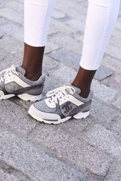 Shoes Chanel Grey Calfskin Dc Chanel Sneakers Chanel Shoes Sneakers