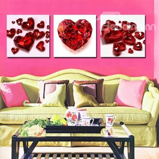 New Arrival Beautiful Red Crystal Heart Print 3-piece Cross Film ...