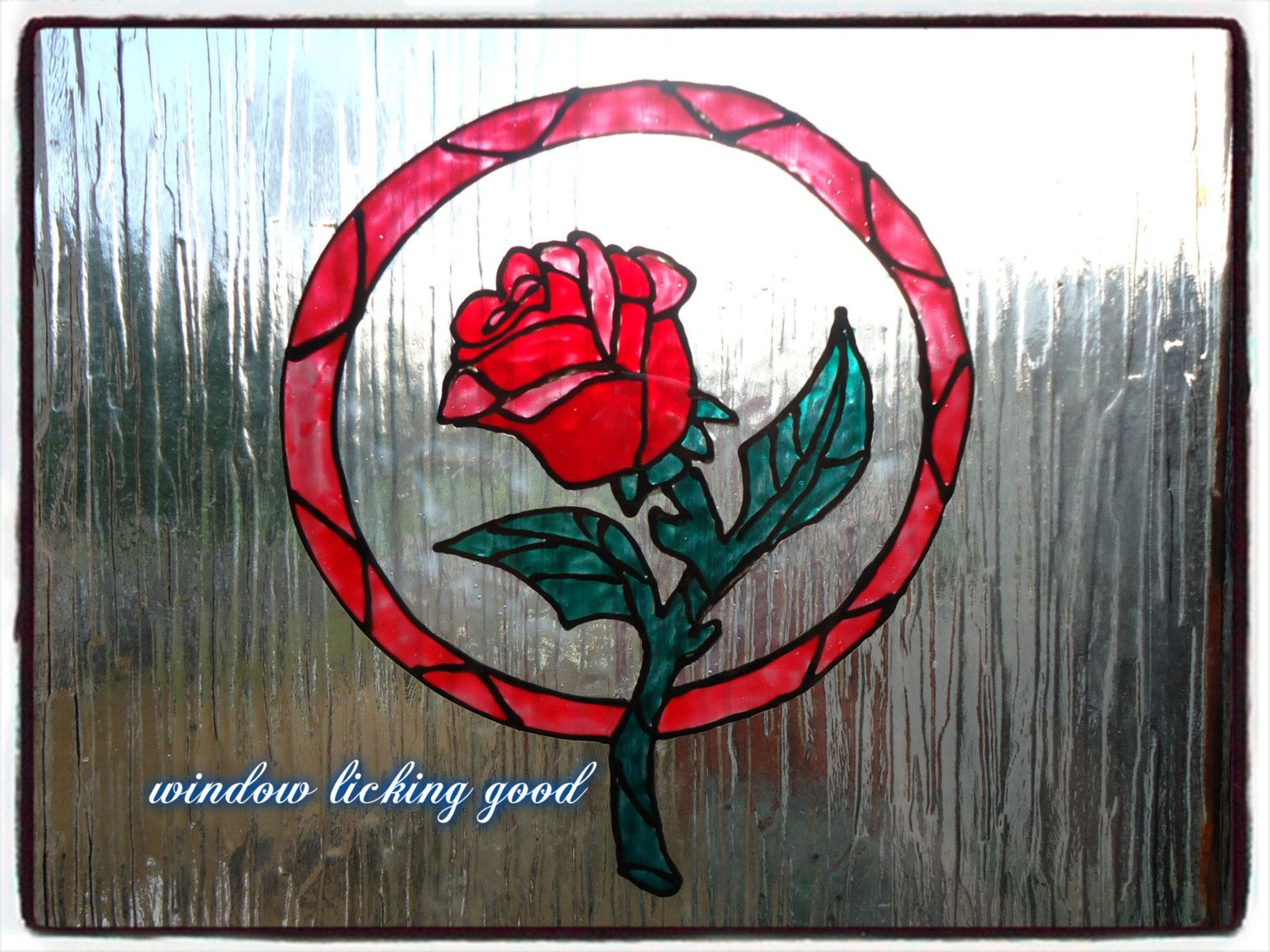 Beauty and the beast stained glass rose window cling suncatcher window sticker decal stained glass style by windowlickinggoodfb on etsy