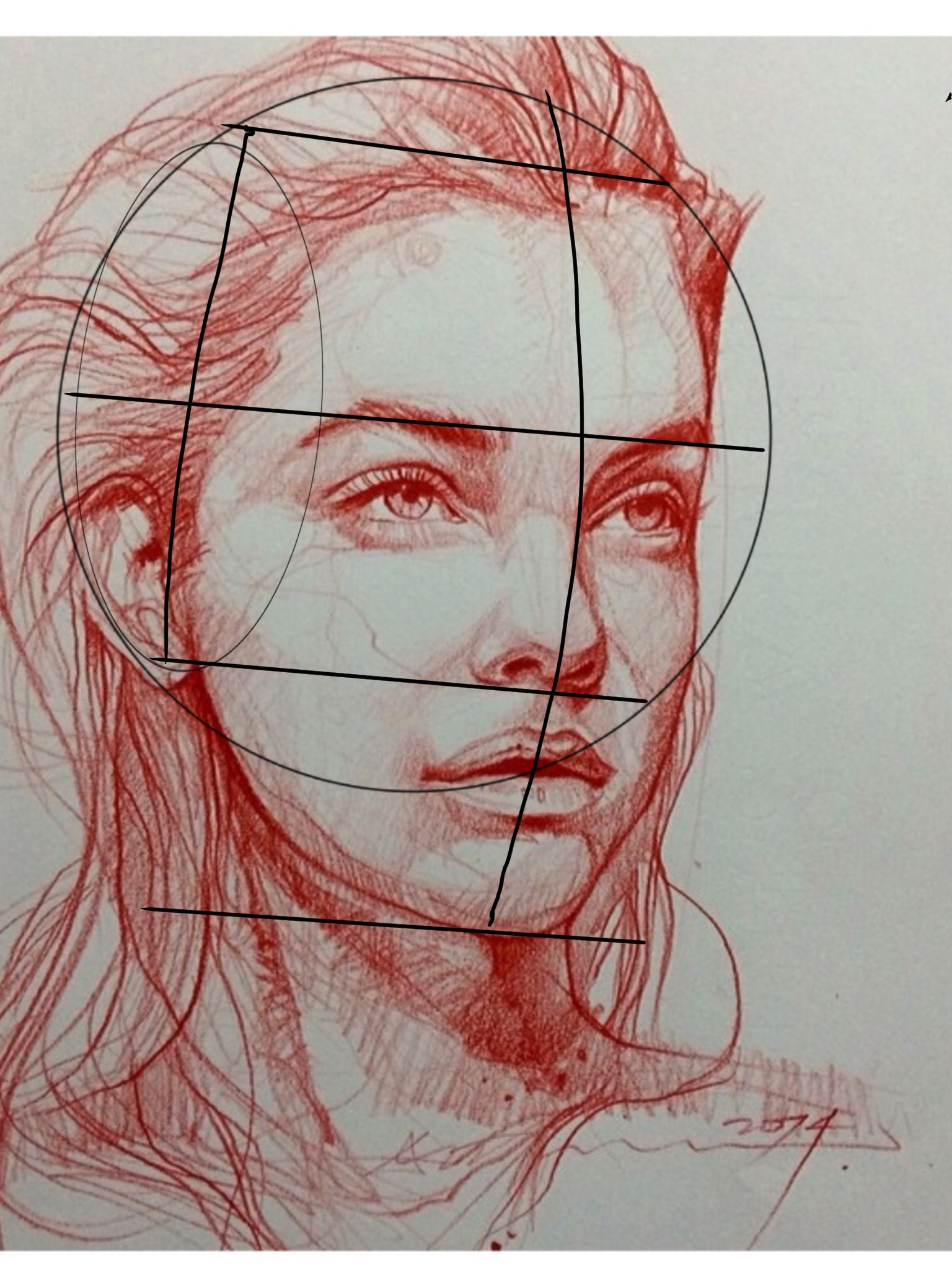Figure Drawing Loomis Diagram On A Sketch By Alvin Chong Portrait Drawing Portrait Art Face Drawing