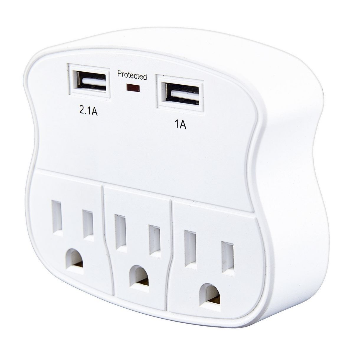 3 Outlet 2 Usb Rapid Charging Wall Adapter In