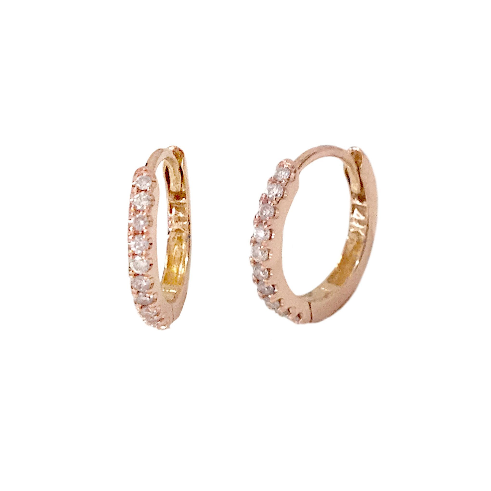 14K Gold Pavé Diamond Small Size 9mm Huggie Hoop Earrings