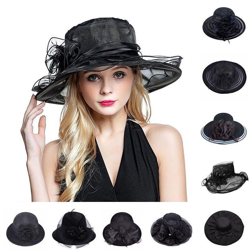 31ea41ef Black Womens Wide Brim Wedding Kentucky Derby Dress Church Summer Beach Hat