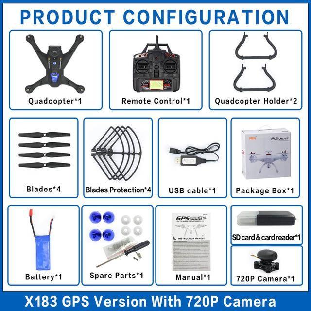 Global Drone X183 5.8G FPV Dual GPS follow me