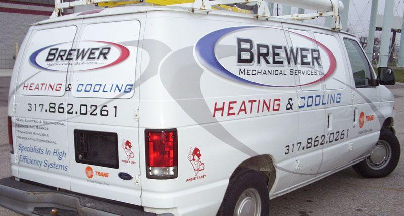 Brewer mechanical services heating cooling hvac van