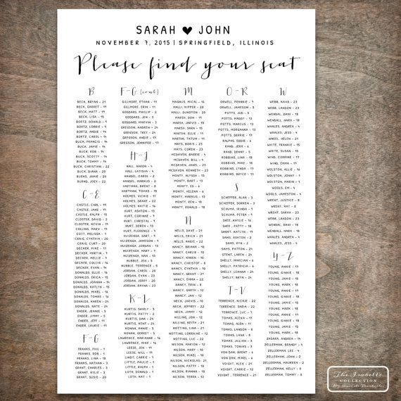 Printable Wedding Seating Chart Poster by RachelsPrintables - free printable seating chart