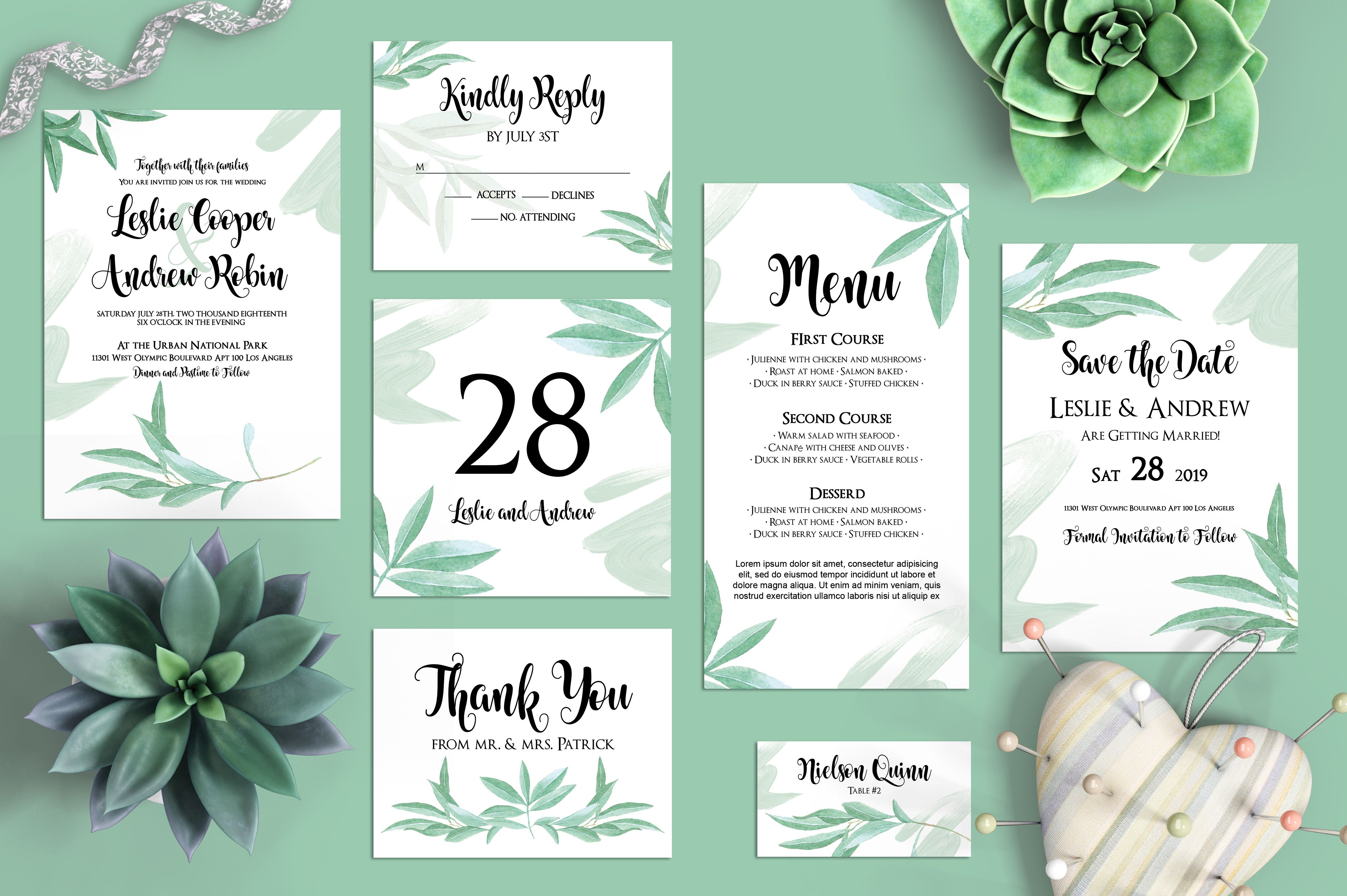 Free Olive Branch Wedding Invitation Templates Set In Psd Our Free Wedding Templates Include 8 Professional Design Templates Of An Invitation Envelope Rsvp