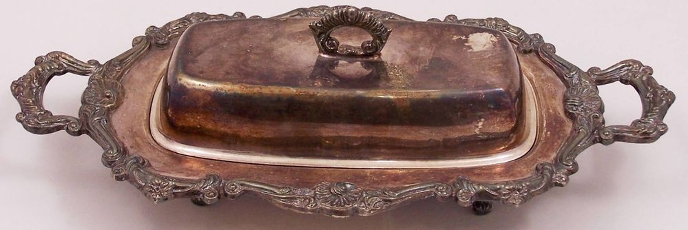 Antique Silver Plate Covered Butter Dish with Glass Insert Shell Flower Design #Unknown
