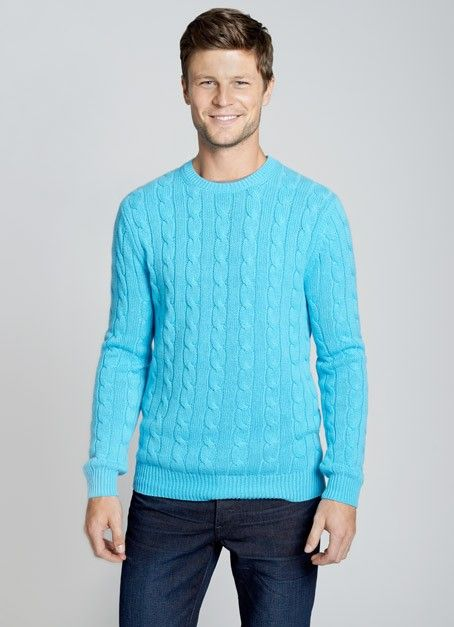 The Monticello Turquoise Cashmere Cable Knit Sweater Its