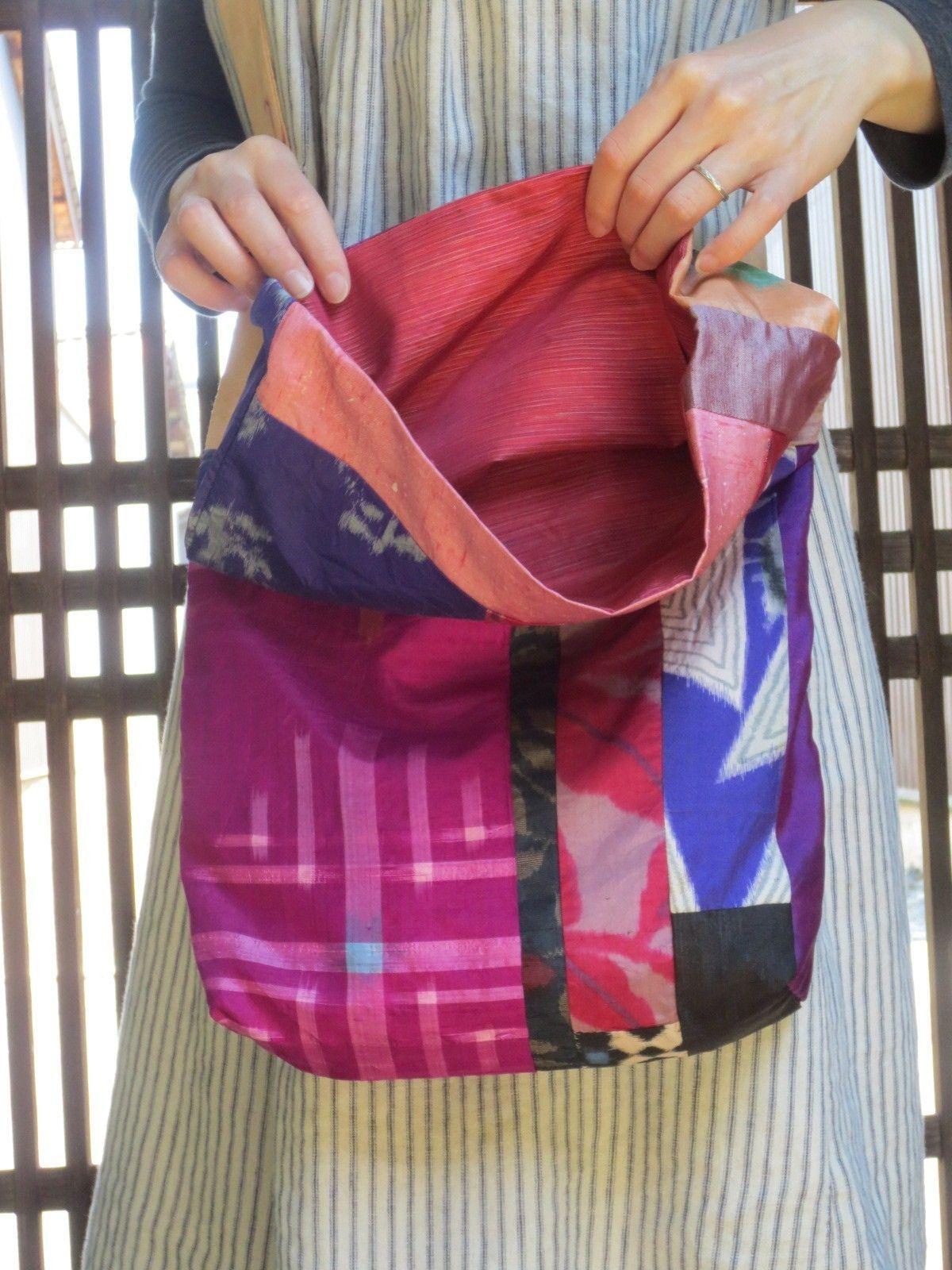Y様ご予約品☆銘仙と紬で楽しいパッチ♪斜め掛けバッグの画像6枚目