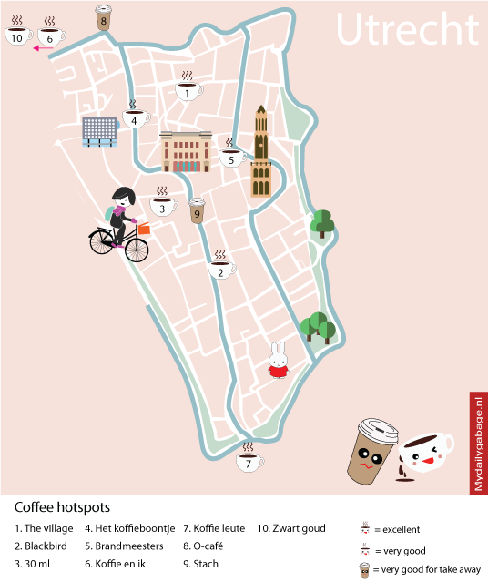 Illustrated map coffee hotspot Utrecht Maps Pinterest