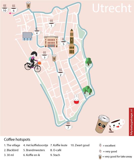 Illustrated map coffee hotspot Utrecht Maps Pinterest