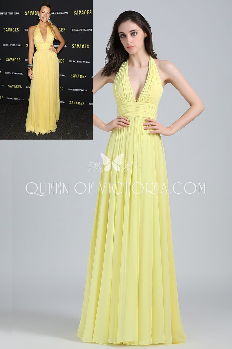 Plunging halter blake lively yellow chiffon aline long celebrity