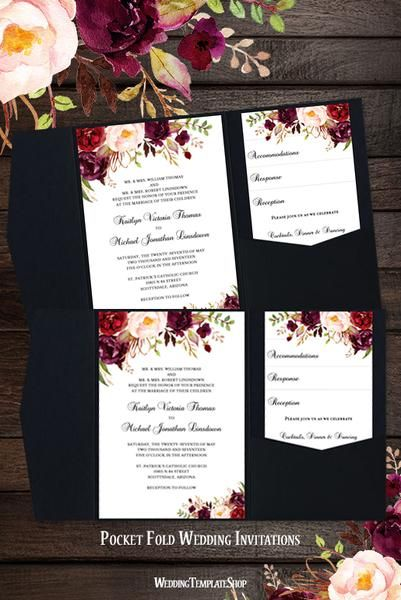 This Burgundy Red And Blush Pink Diy Printable Template Set Includes I Pocket Wedding Invitations Pocket Fold Wedding Invitations Wedding Invitations Romantic