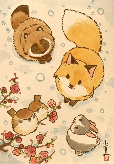 Such a cute and kawaii animal illustration with a rabbit, red fox, tanuki (raccoon dog), and little sparrows. Very lovely, would be a cute wallpaper as well. #cutefox