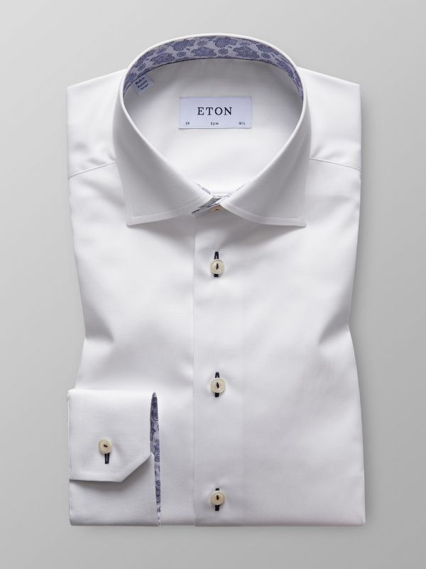 White Twill Shirt With Contrast Trim