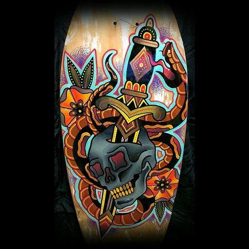 #skateboardart #skateboard #skull #snake #dagger