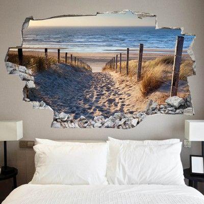 3d vinyl wandsticker mit urlaubsmotiv bastelideen pinterest w nde schlafzimmer und tapeten. Black Bedroom Furniture Sets. Home Design Ideas