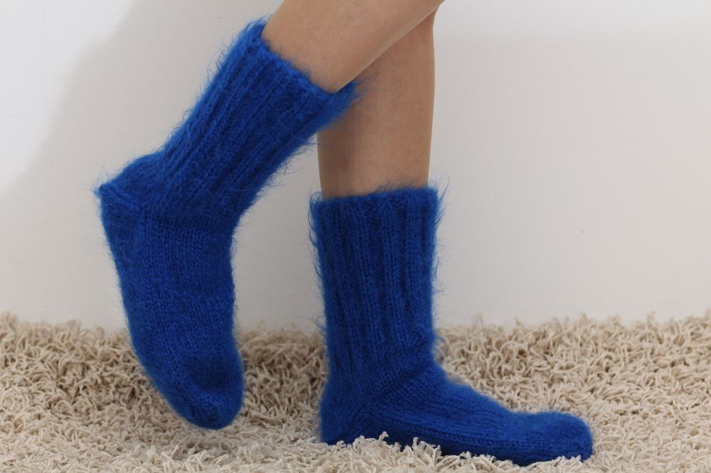 New Hand knitted mohair socks Fuzzy handcrafted BLUE leg warmers by SUPERTANYA #SuperTanya #Casual