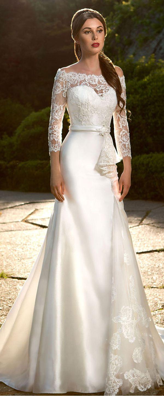 Elegant satin tulle lace offtheshoulder neckline mermaid wedding